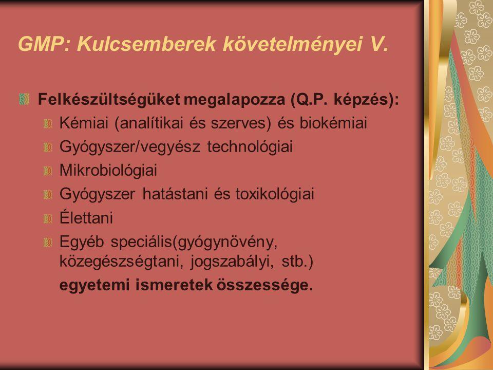 GMP: Kulcsemberek követelményei V. Felkészültségüket megalapozza (Q.P. képzés): Kémiai (analítikai és szerves) és biokémiai Gyógyszer/vegyész technoló