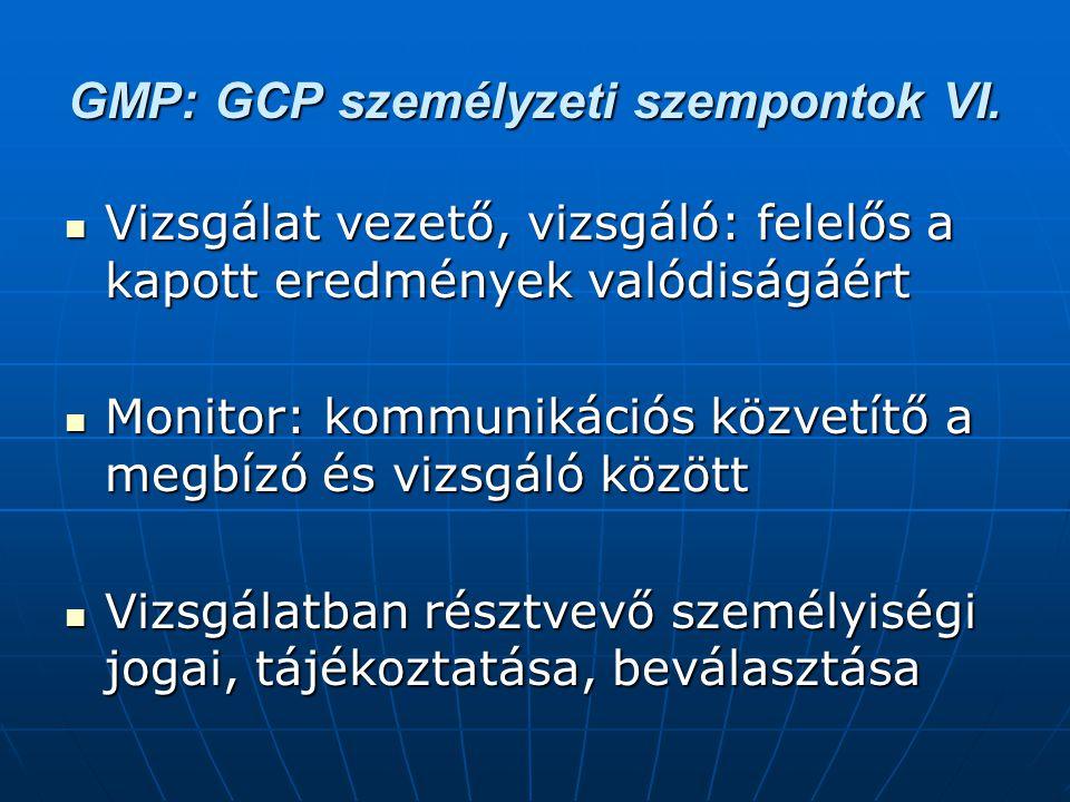 GMP: GCP személyzeti szempontok VI. Vizsgálat vezető, vizsgáló: felelős a kapott eredmények valódiságáért Vizsgálat vezető, vizsgáló: felelős a kapott