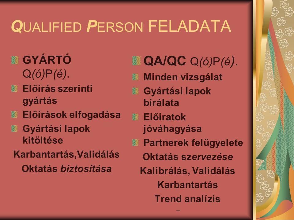 Q UALIFIED P ERSON FELADATA GYÁRTÓ Q(ó)P(é).