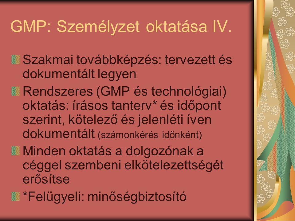 GMP: Személyzet oktatása IV. Szakmai továbbképzés: tervezett és dokumentált legyen Rendszeres (GMP és technológiai) oktatás: írásos tanterv* és időpon