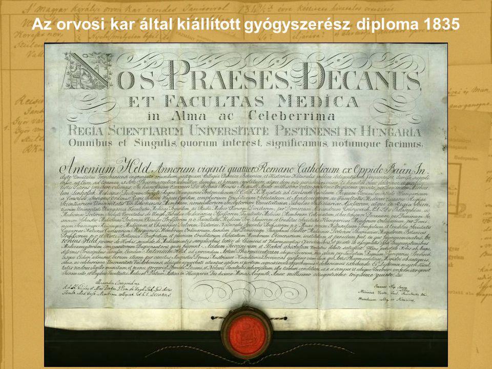 Az orvosi kar által kiállított gyógyszerész diploma 1835