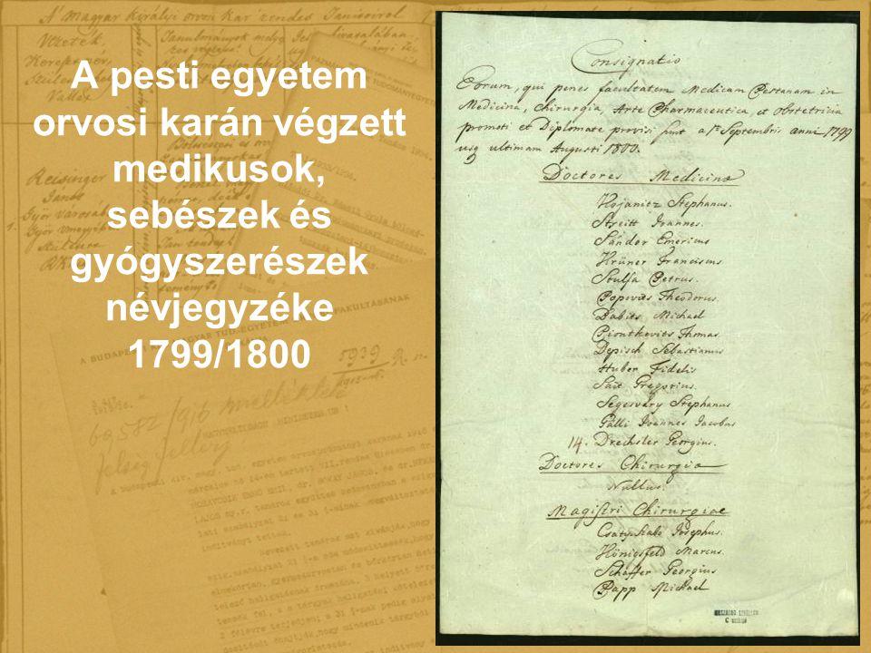 A pesti egyetem orvosi karán végzett medikusok, sebészek és gyógyszerészek névjegyzéke 1799/1800