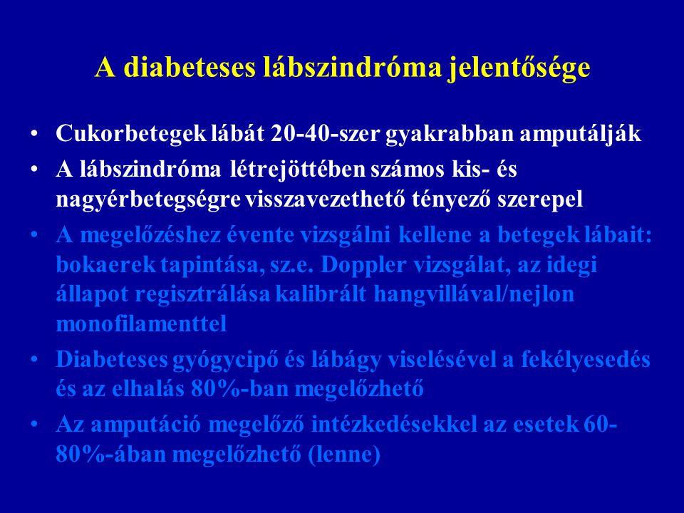 A diabeteses lábszindróma jelentősége Cukorbetegek lábát 20-40-szer gyakrabban amputálják A lábszindróma létrejöttében számos kis- és nagyérbetegségre visszavezethető tényező szerepel A megelőzéshez évente vizsgálni kellene a betegek lábait: bokaerek tapintása, sz.e.