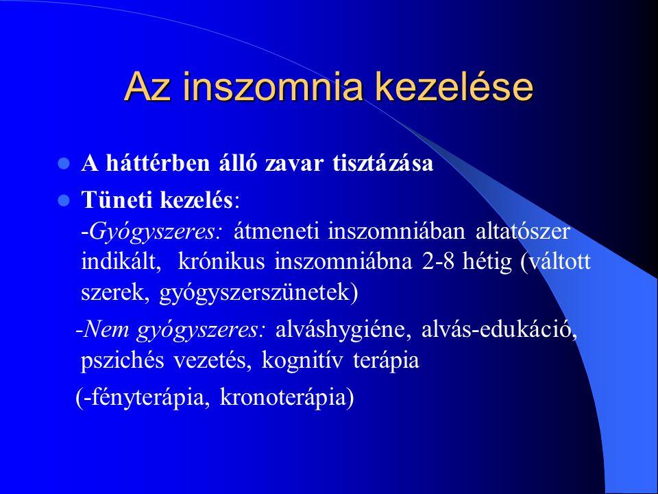 Az inszomnia kezelése A háttérben álló zavar tisztázása Tüneti kezelés: -Gyógyszeres: átmeneti inszomniában altatószer indikált, krónikus inszomniábna