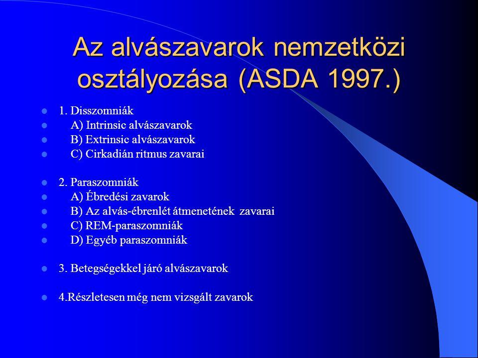 Az alvászavarok nemzetközi osztályozása (ASDA 1997.) 1. Disszomniák A) Intrinsic alvászavarok B) Extrinsic alvászavarok C) Cirkadián ritmus zavarai 2.