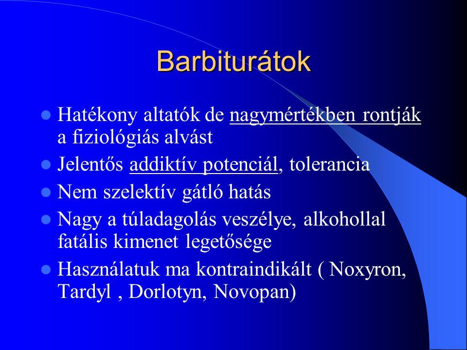 Barbiturátok Hatékony altatók de nagymértékben rontják a fiziológiás alvást Jelentős addiktív potenciál, tolerancia Nem szelektív gátló hatás Nagy a t
