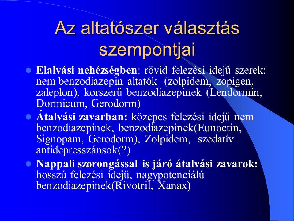 Az altatószer választás szempontjai Elalvási nehézségben: rövid felezési idejű szerek: nem benzodiazepin altatók (zolpidem, zopigen, zaleplon), korsze