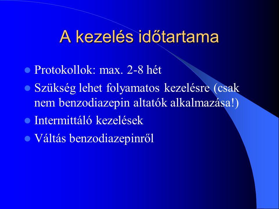 A kezelés időtartama Protokollok: max. 2-8 hét Szükség lehet folyamatos kezelésre (csak nem benzodiazepin altatók alkalmazása!) Intermittáló kezelések