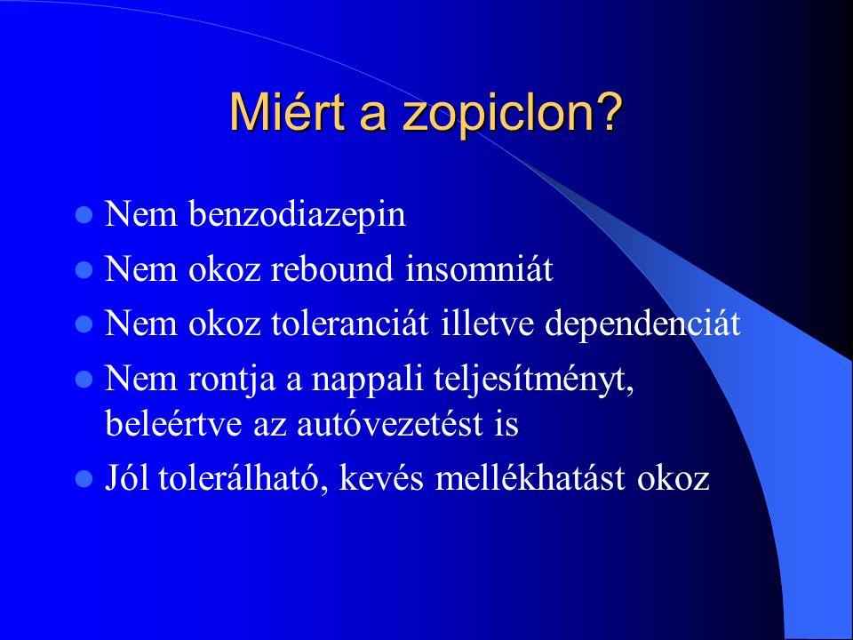 Miért a zopiclon? Nem benzodiazepin Nem okoz rebound insomniát Nem okoz toleranciát illetve dependenciát Nem rontja a nappali teljesítményt, beleértve
