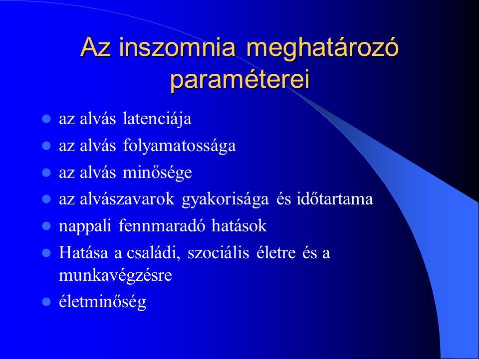 Az altatószer választás szempontjai Elalvási nehézségben: rövid felezési idejű szerek: nem benzodiazepin altatók (zolpidem, zopigen, zaleplon), korszerű benzodiazepinek (Lendormin, Dormicum, Gerodorm) Átalvási zavarban: közepes felezési idejű nem benzodiazepinek, benzodiazepinek(Eunoctin, Signopam, Gerodorm), Zolpidem, szedatív antidepresszánsok(?) Nappali szorongással is járó átalvási zavarok: hosszú felezési idejű, nagypotenciálú benzodiazepinek(Rivotril, Xanax)