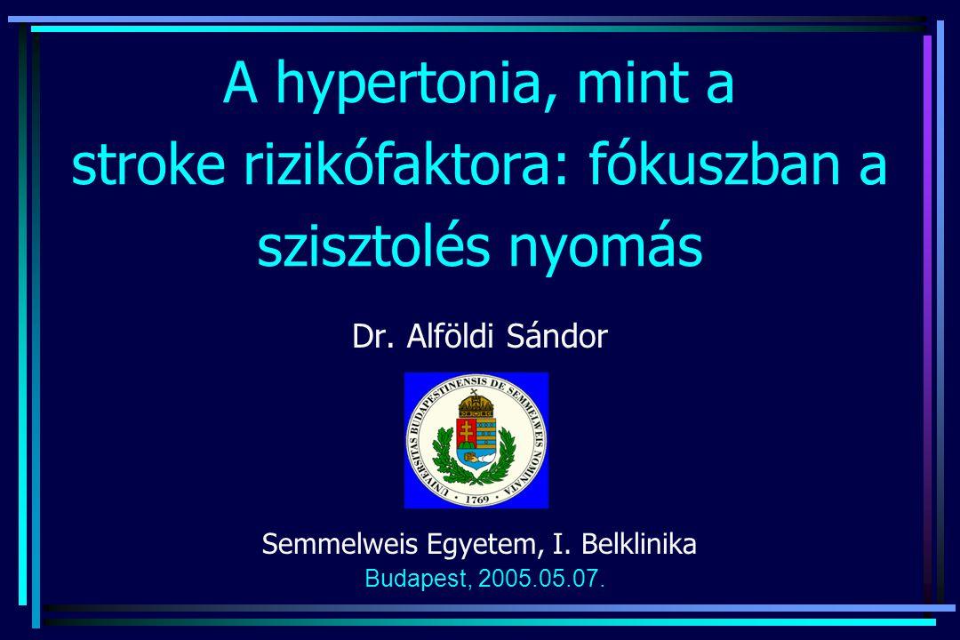 A hypertonia, mint a stroke rizikófaktora: fókuszban a szisztolés nyomás Dr. Alföldi Sándor Semmelweis Egyetem, I. Belklinika Budapest, 2005.05.07.