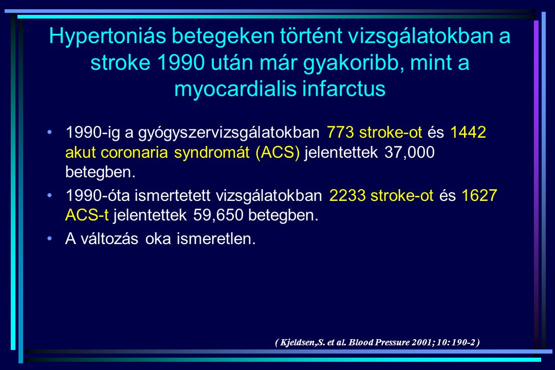 Hypertoniás betegeken történt vizsgálatokban a stroke 1990 után már gyakoribb, mint a myocardialis infarctus 1990-ig a gyógyszervizsgálatokban 773 str