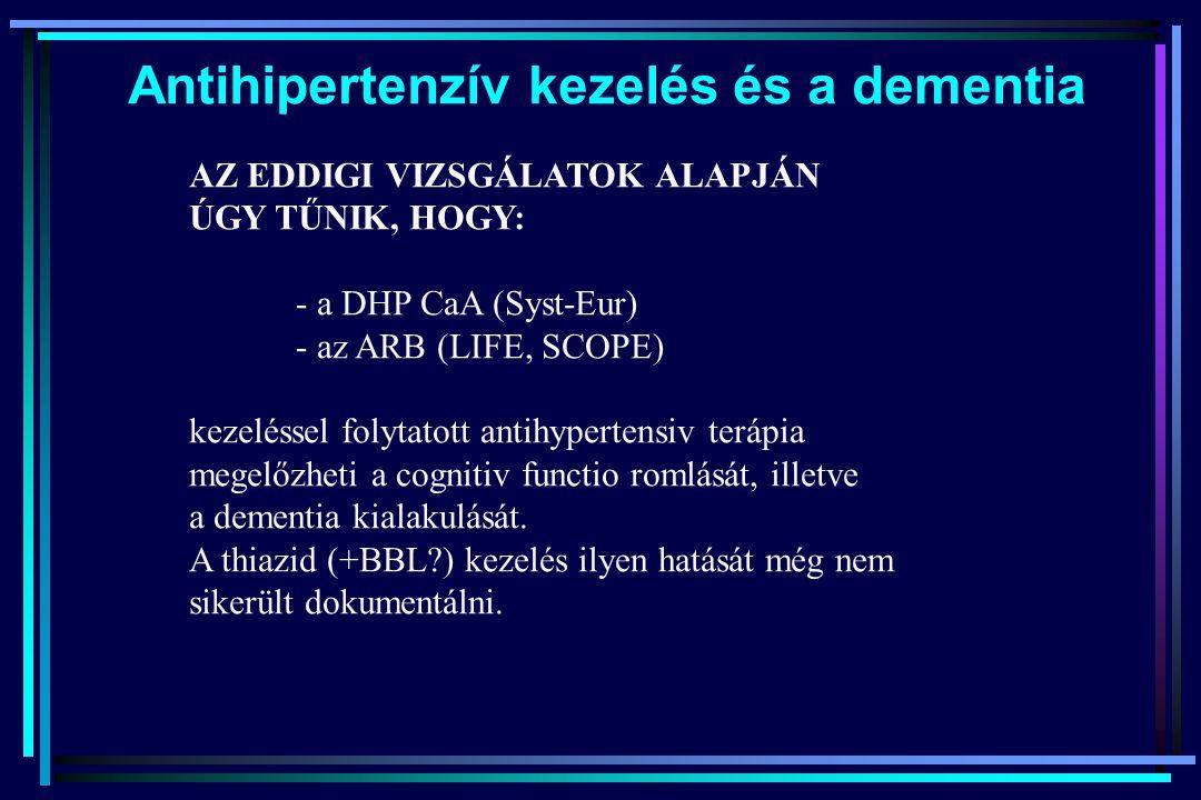 AZ EDDIGI VIZSGÁLATOK ALAPJÁN ÚGY TŰNIK, HOGY: - a DHP CaA (Syst-Eur) - az ARB (LIFE, SCOPE) kezeléssel folytatott antihypertensiv terápia megelőzheti