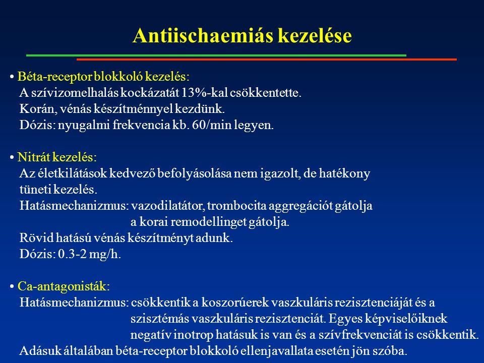 Antiischaemiás kezelése Béta-receptor blokkoló kezelés: A szívizomelhalás kockázatát 13%-kal csökkentette.