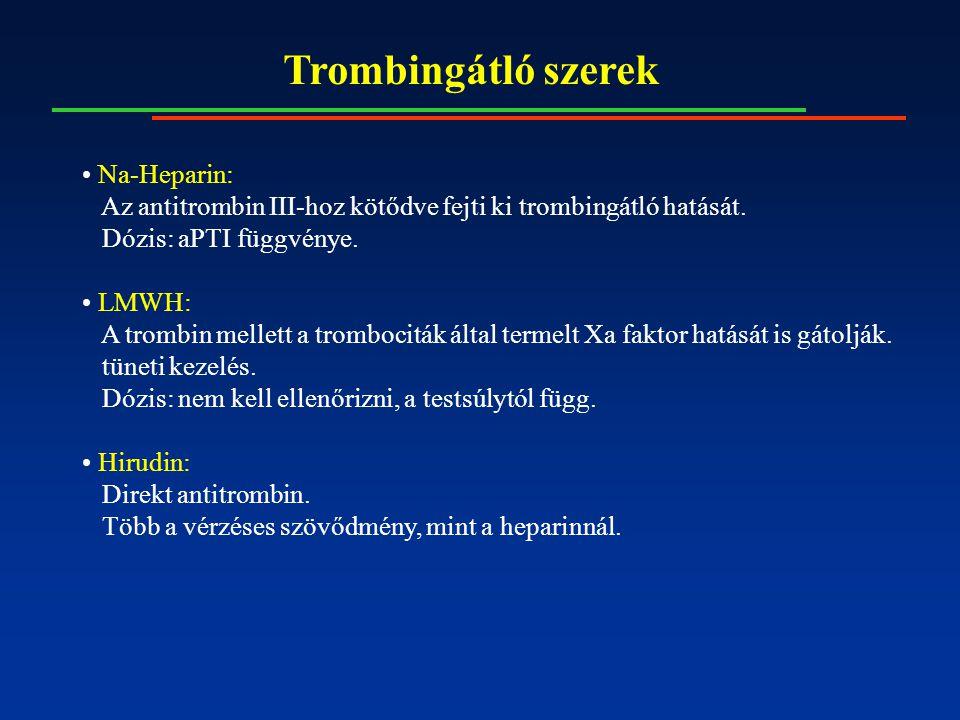 Trombingátló szerek Na-Heparin: Az antitrombin III-hoz kötődve fejti ki trombingátló hatását.