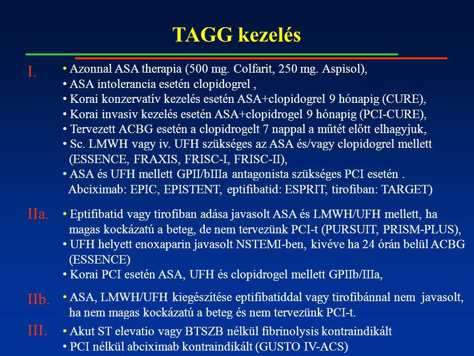 TAGG kezelés Azonnal ASA therapia (500 mg. Colfarit, 250 mg.
