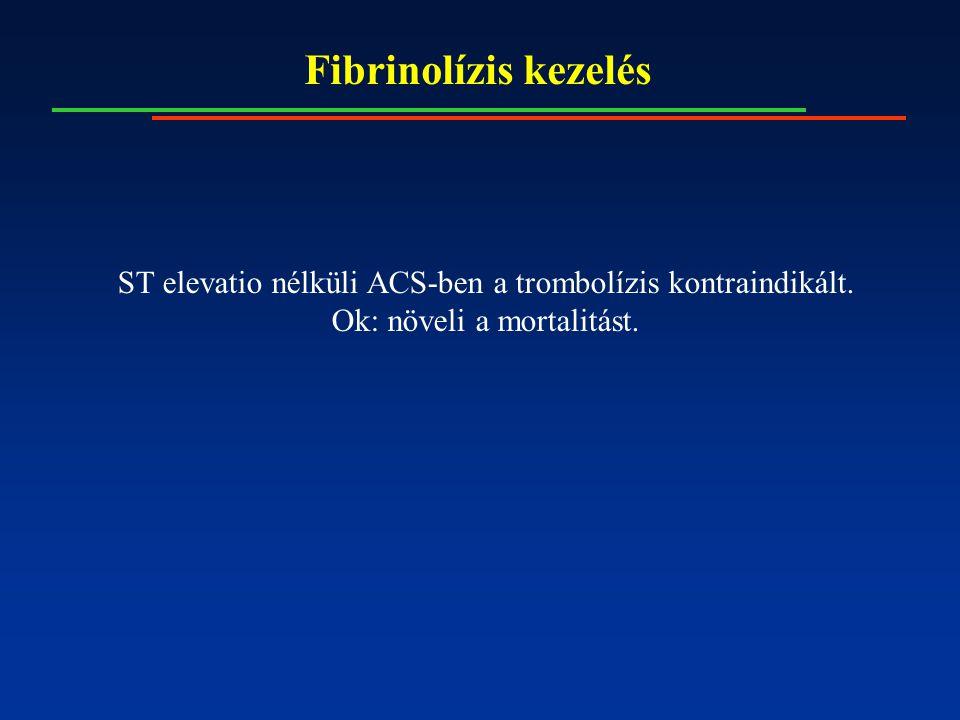 Fibrinolízis kezelés ST elevatio nélküli ACS-ben a trombolízis kontraindikált.
