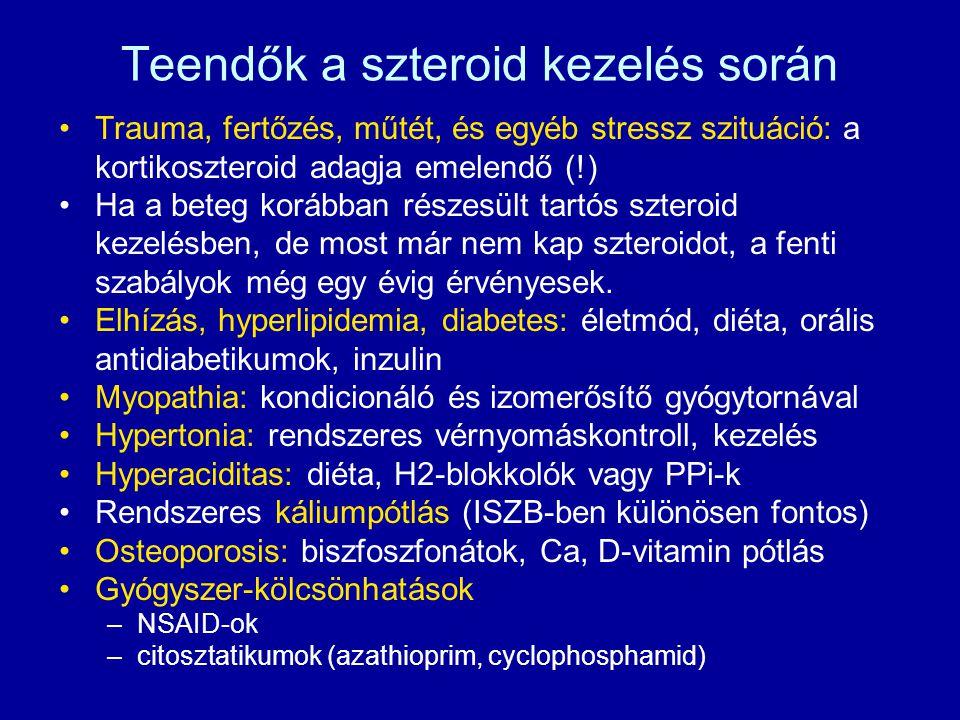 Teendők a szteroid kezelés során Trauma, fertőzés, műtét, és egyéb stressz szituáció: a kortikoszteroid adagja emelendő (!) Ha a beteg korábban részesült tartós szteroid kezelésben, de most már nem kap szteroidot, a fenti szabályok még egy évig érvényesek.