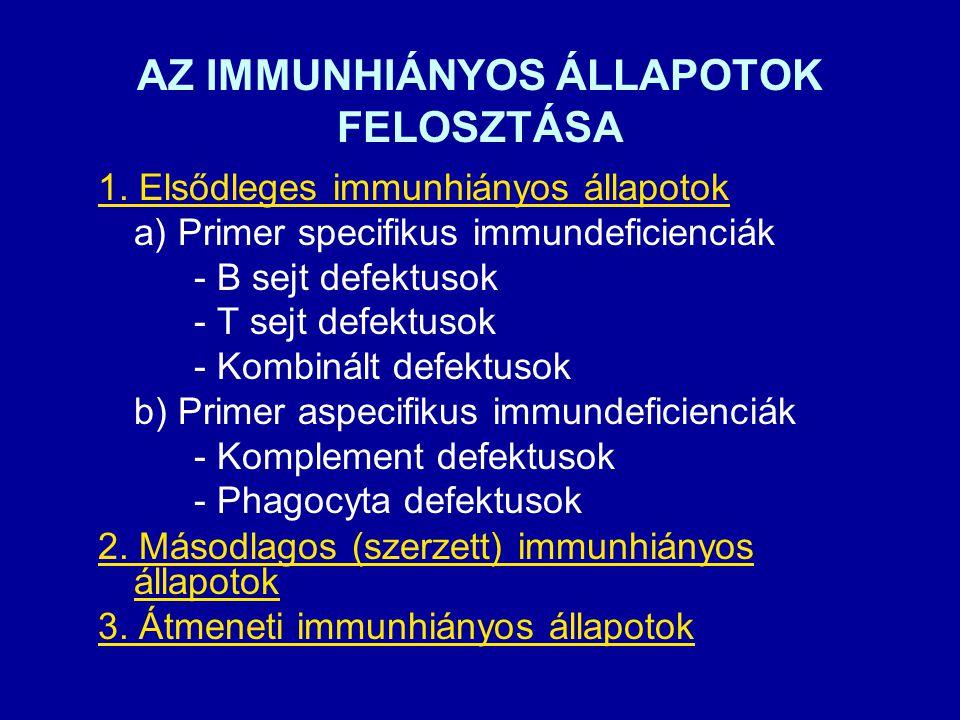 AZ IMMUNHIÁNYOS ÁLLAPOTOK FELOSZTÁSA 1.