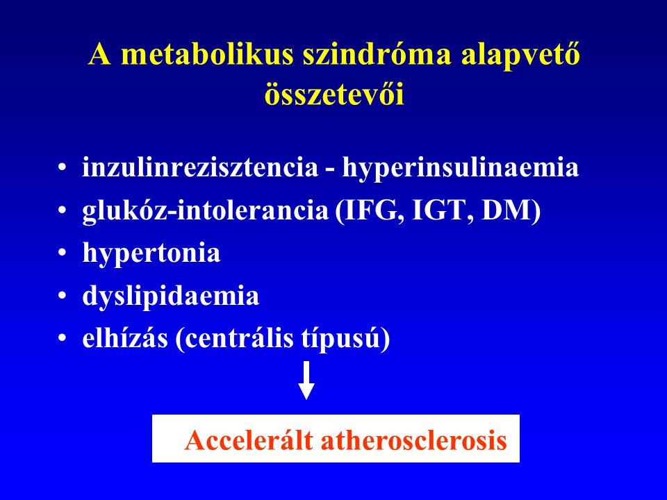 A metabolikus szindróma alapvető összetevői inzulinrezisztencia - hyperinsulinaemia glukóz-intolerancia (IFG, IGT, DM) hypertonia dyslipidaemia elhízá