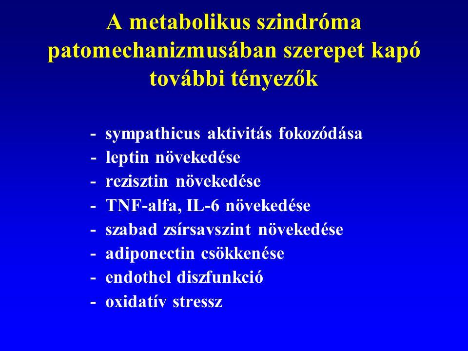A metabolikus szindróma patomechanizmusában szerepet kapó további tényezők   - sympathicus aktivitás fokozódása - leptin növekedése  - rezisztin nö