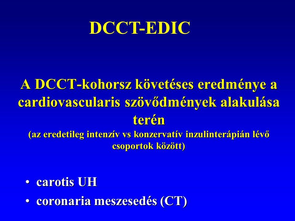 A DCCT-kohorsz követéses eredménye a cardiovascularis szövődmények alakulása terén (az eredetileg intenzív vs konzervatív inzulinterápián lévő csoport