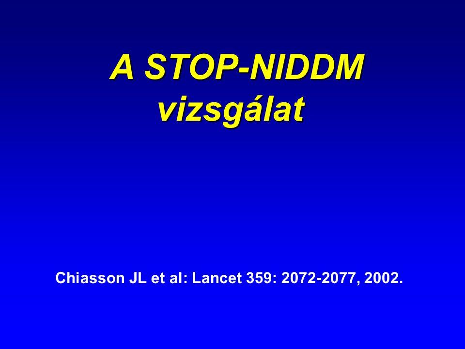 A STOP-NIDDM vizsgálat Chiasson JL et al: Lancet 359: 2072-2077, 2002.