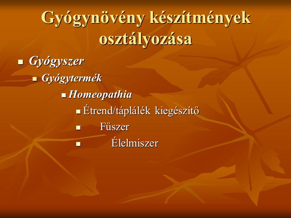 Gyógynövény készítmények osztályozása Gyógyszer Gyógyszer Gyógytermék Gyógytermék Homeopathia Homeopathia Étrend/táplálék kiegészítő Étrend/táplálék k