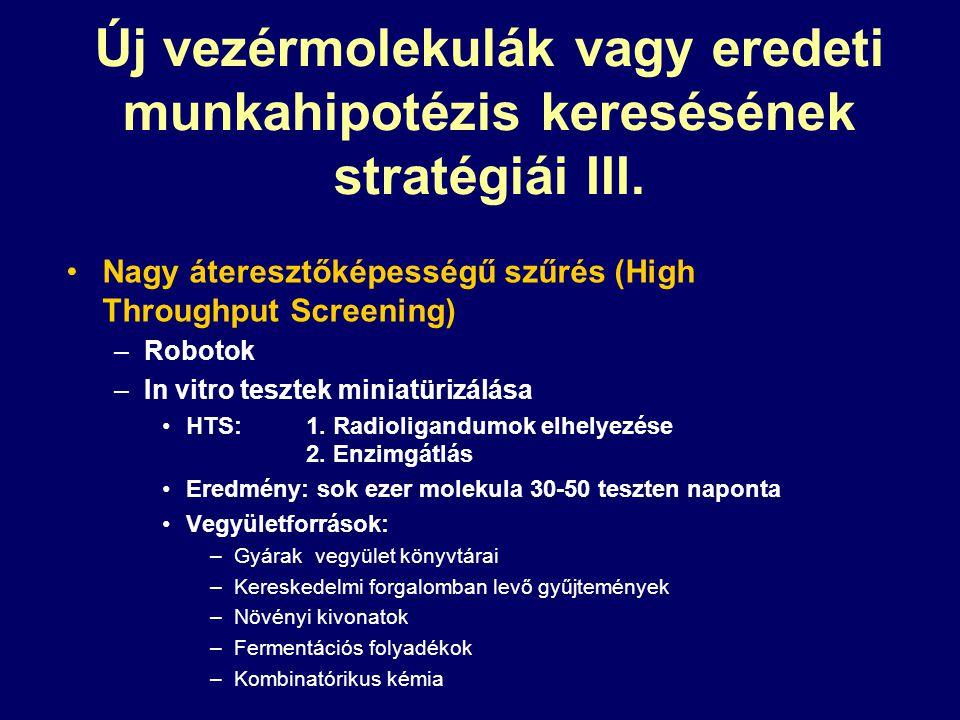 Új vezérmolekulák vagy eredeti munkahipotézis keresésének stratégiái III. Nagy áteresztőképességű szűrés (High Throughput Screening) –Robotok –In vitr