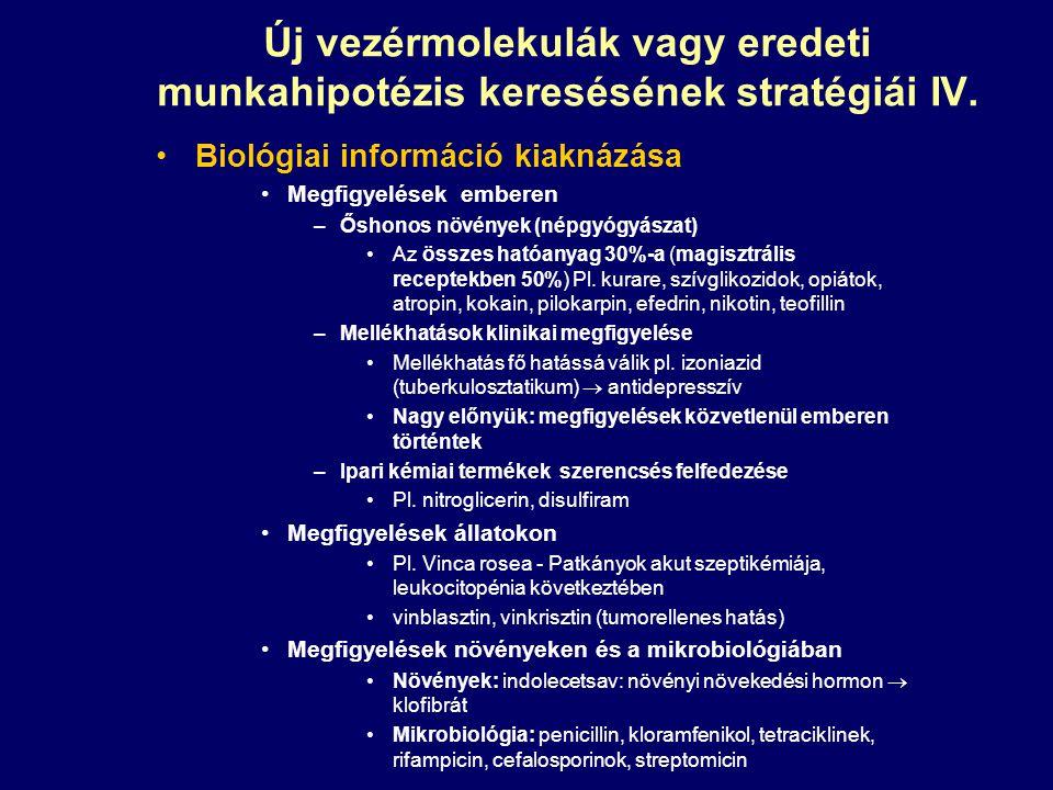 Új vezérmolekulák vagy eredeti munkahipotézis keresésének stratégiái IV. Biológiai információ kiaknázása Megfigyelések emberen –Őshonos növények (népg