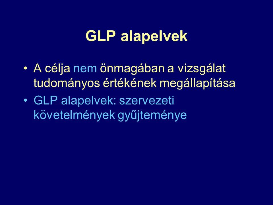 GLP alapelvek A célja nem önmagában a vizsgálat tudományos értékének megállapítása GLP alapelvek: szervezeti követelmények gyűjteménye