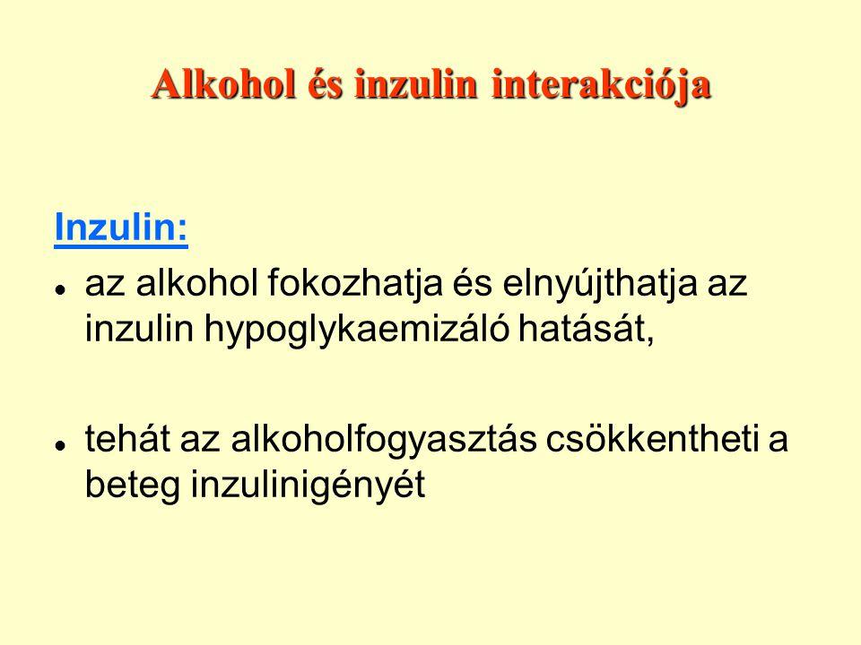 Alkohol és inzulin interakciója Inzulin: az alkohol fokozhatja és elnyújthatja az inzulin hypoglykaemizáló hatását, tehát az alkoholfogyasztás csökkentheti a beteg inzulinigényét