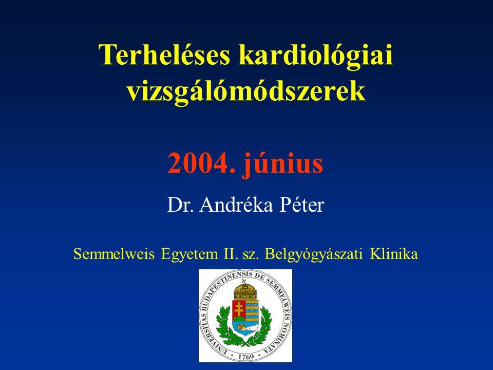 Terheléses kardiológiai vizsgálómódszerek 2004. június Dr. Andréka Péter Semmelweis Egyetem II. sz. Belgyógyászati Klinika