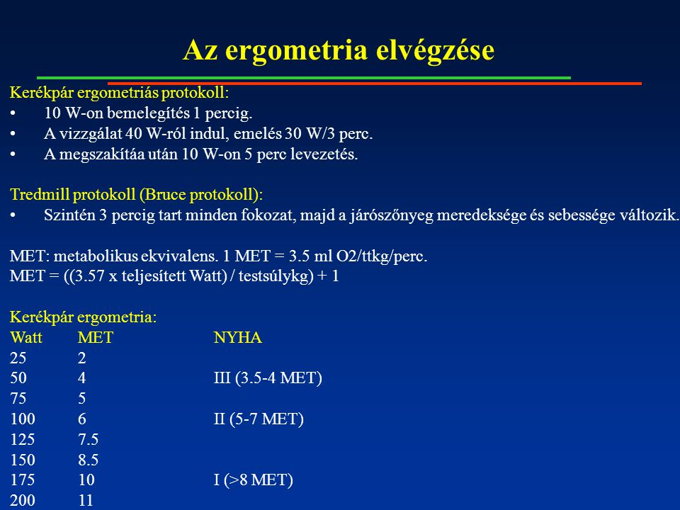 Az ergometria elvégzése Kerékpár ergometriás protokoll: 10 W-on bemelegítés 1 percig. A vizzgálat 40 W-ról indul, emelés 30 W/3 perc. A megszakítáa ut