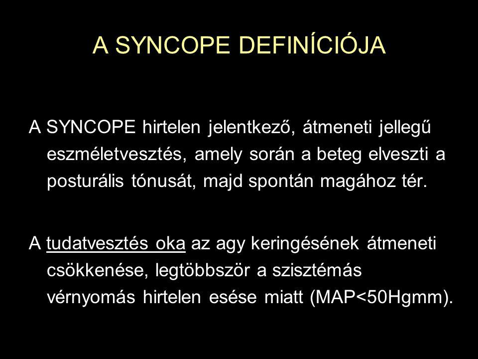 A SYNCOPE DEFINÍCIÓJA A SYNCOPE hirtelen jelentkező, átmeneti jellegű eszméletvesztés, amely során a beteg elveszti a posturális tónusát, majd spontán