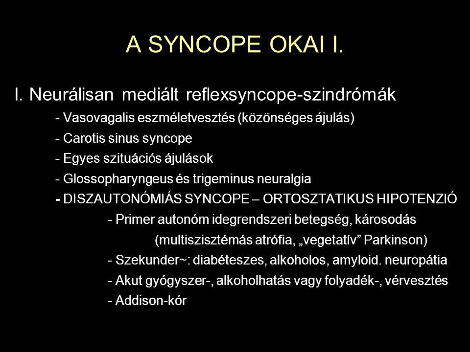 A SYNCOPE OKAI I. I. Neurálisan mediált reflexsyncope-szindrómák - Vasovagalis eszméletvesztés (közönséges ájulás) - Carotis sinus syncope - Egyes szi