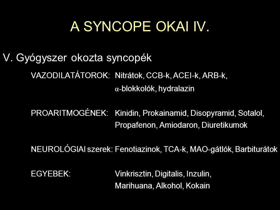 A SYNCOPE OKAI IV. V. Gyógyszer okozta syncopék VAZODILATÁTOROK:Nitrátok, CCB-k, ACEI-k, ARB-k, α- blokkolók, hydralazin PROARITMOGÉNEK:Kinidin, Proka