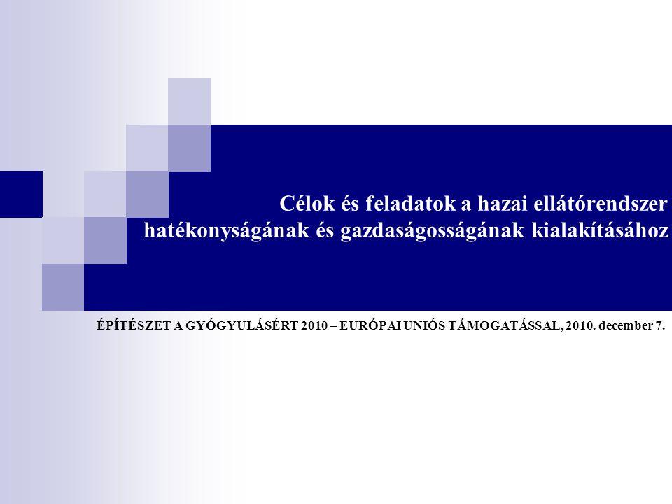 Célok és feladatok a hazai ellátórendszer hatékonyságának és gazdaságosságának kialakításához ÉPÍTÉSZET A GYÓGYULÁSÉRT 2010 – EURÓPAI UNIÓS TÁMOGATÁSSAL, 2010.