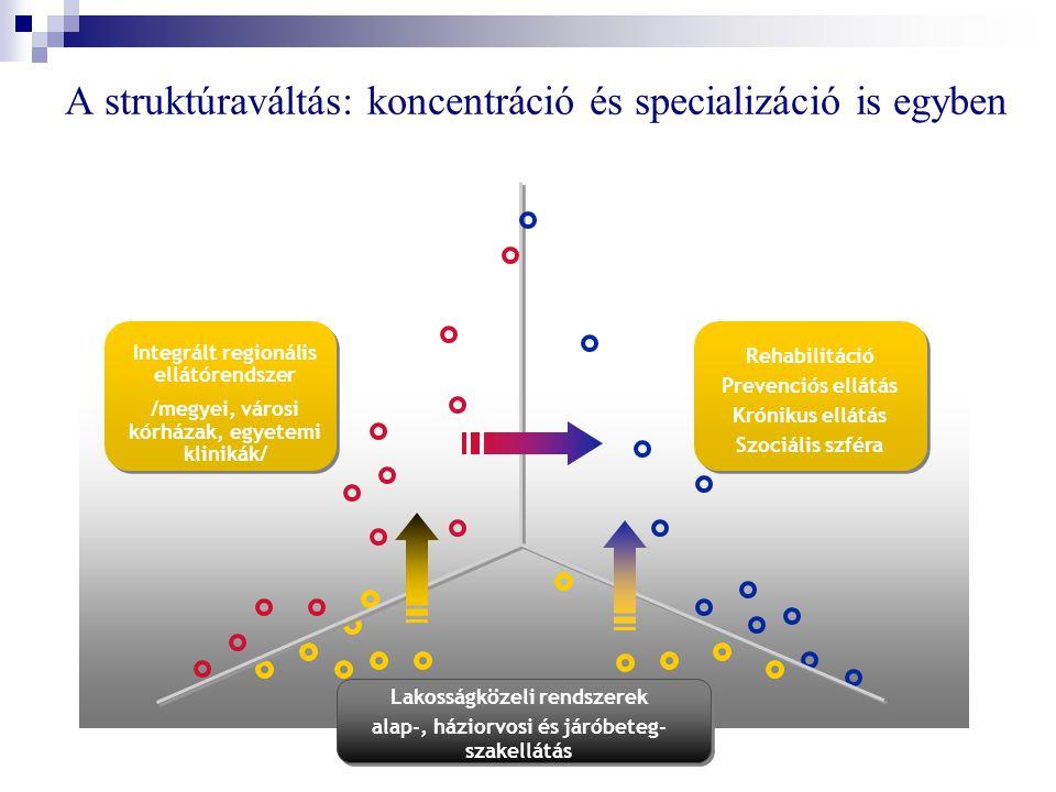 Lakosságközeli rendszerek alap-, háziorvosi és járóbeteg- szakellátás Integrált regionális ellátórendszer /megyei, városi kórházak, egyetemi klinikák/ A struktúraváltás: koncentráció és specializáció is egyben Rehabilitáció Prevenciós ellátás Krónikus ellátás Szociális szféra