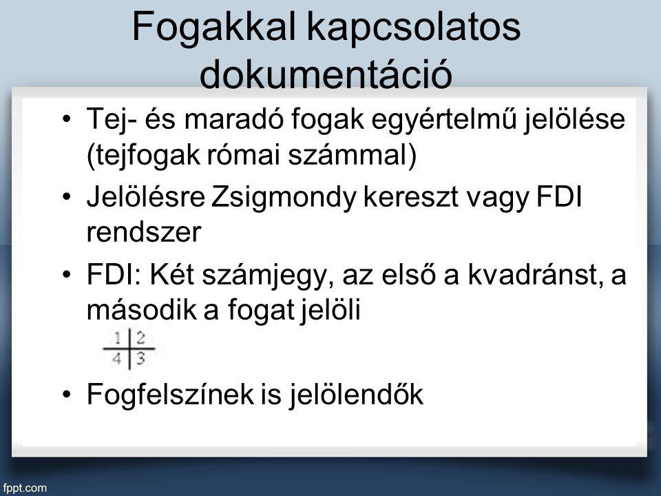 Fogakkal kapcsolatos dokumentáció Tej- és maradó fogak egyértelmű jelölése (tejfogak római számmal) Jelölésre Zsigmondy kereszt vagy FDI rendszer FDI: