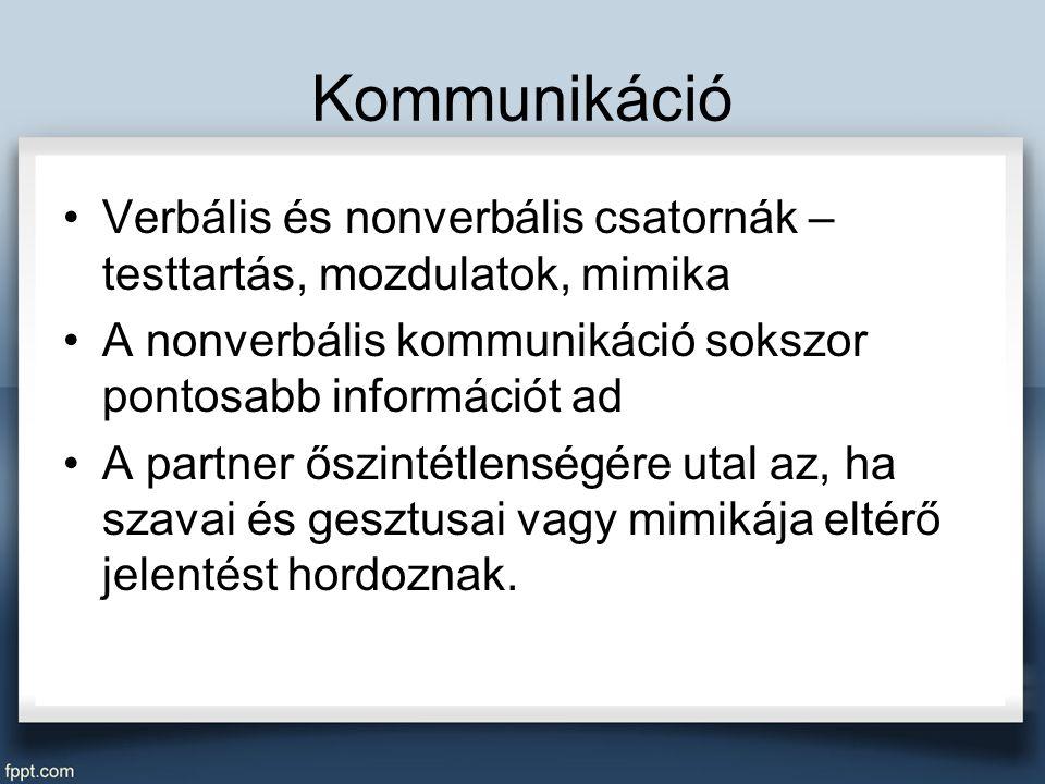 Kommunikáció Verbális és nonverbális csatornák – testtartás, mozdulatok, mimika A nonverbális kommunikáció sokszor pontosabb információt ad A partner