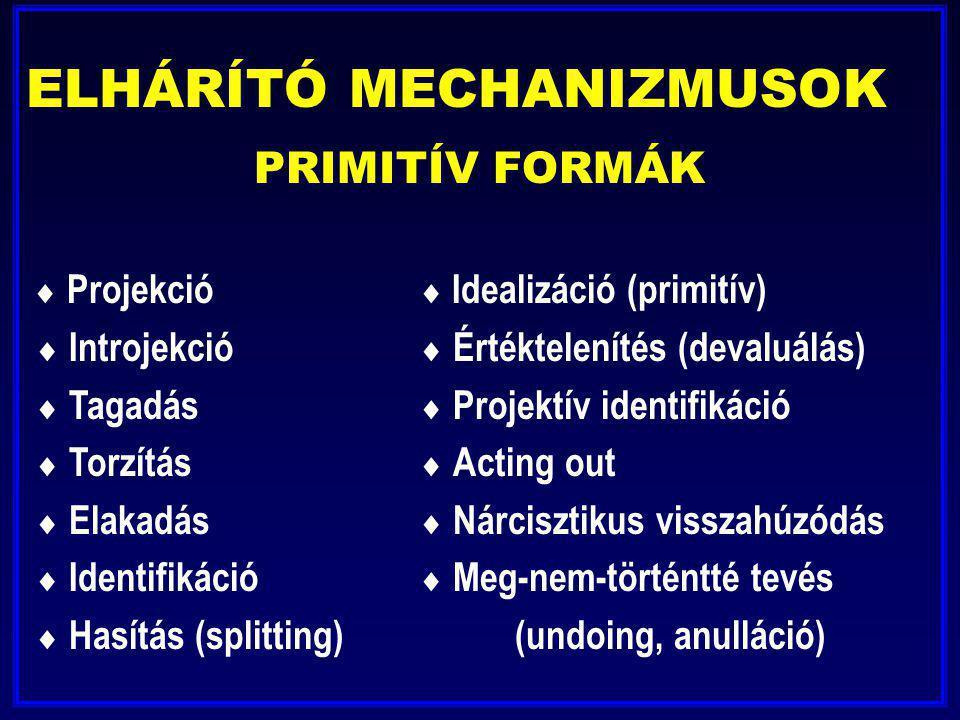 ELHÁRÍTÓ MECHANIZMUSOK PRIMITÍV FORMÁK  Projekció  Idealizáció (primitív)  Introjekció  Értéktelenítés (devaluálás)  Tagadás  Projektív identifi