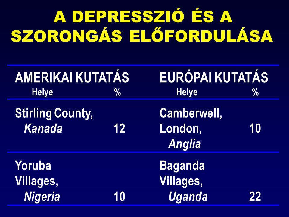 A DEPRESSZIÓ ÉS A SZORONGÁS ELŐFORDULÁSA AMERIKAI KUTATÁS EURÓPAI KUTATÁS Helye %Helye % Stirling County,Camberwell, Kanada 12London, 10 Anglia Yoruba