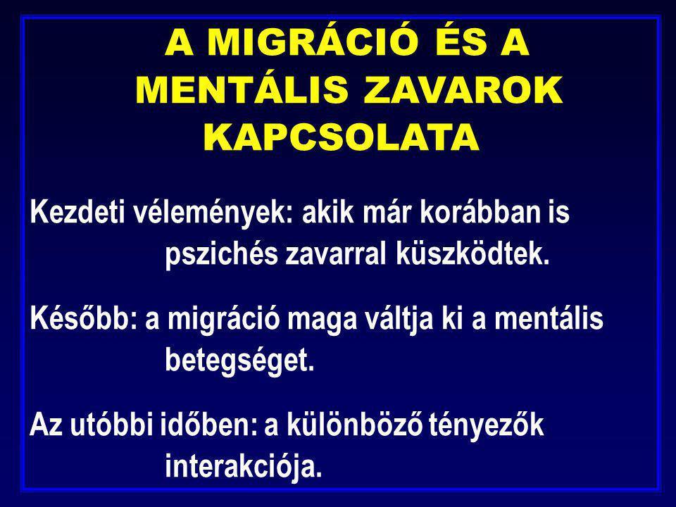 A MIGRÁCIÓ ÉS A MENTÁLIS ZAVAROK KAPCSOLATA Kezdeti vélemények: akik már korábban is pszichés zavarral küszködtek. Később: a migráció maga váltja ki a