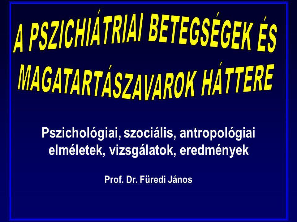 Pszichológiai, szociális, antropológiai elméletek, vizsgálatok, eredmények Prof. Dr. Füredi János