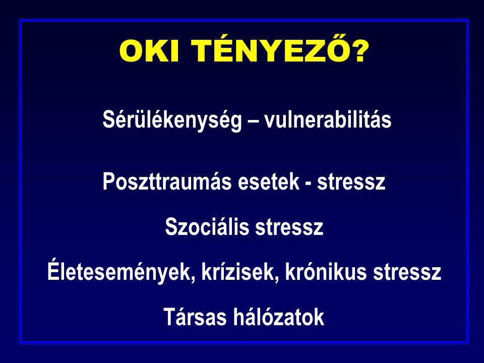 OKI TÉNYEZŐ? Sérülékenység – vulnerabilitás Poszttraumás esetek - stressz Szociális stressz Életesemények, krízisek, krónikus stressz Társas hálózatok