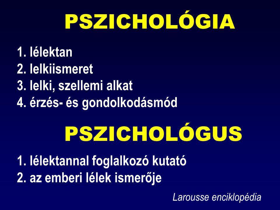 PSZICHOLÓGIA 1. lélektan 2. lelkiismeret 3. lelki, szellemi alkat 4. érzés- és gondolkodásmód PSZICHOLÓGUS 1. lélektannal foglalkozó kutató 2. az embe