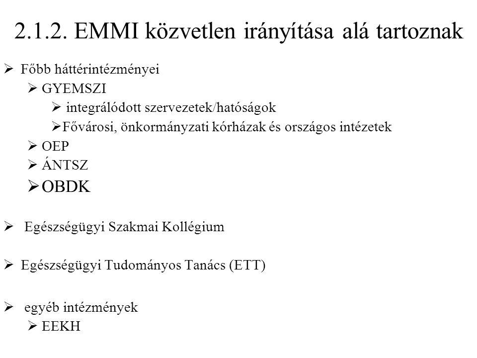 2.1.2. EMMI közvetlen irányítása alá tartoznak  Főbb háttérintézményei  GYEMSZI  integrálódott szervezetek/hatóságok  Fővárosi, önkormányzati kórh