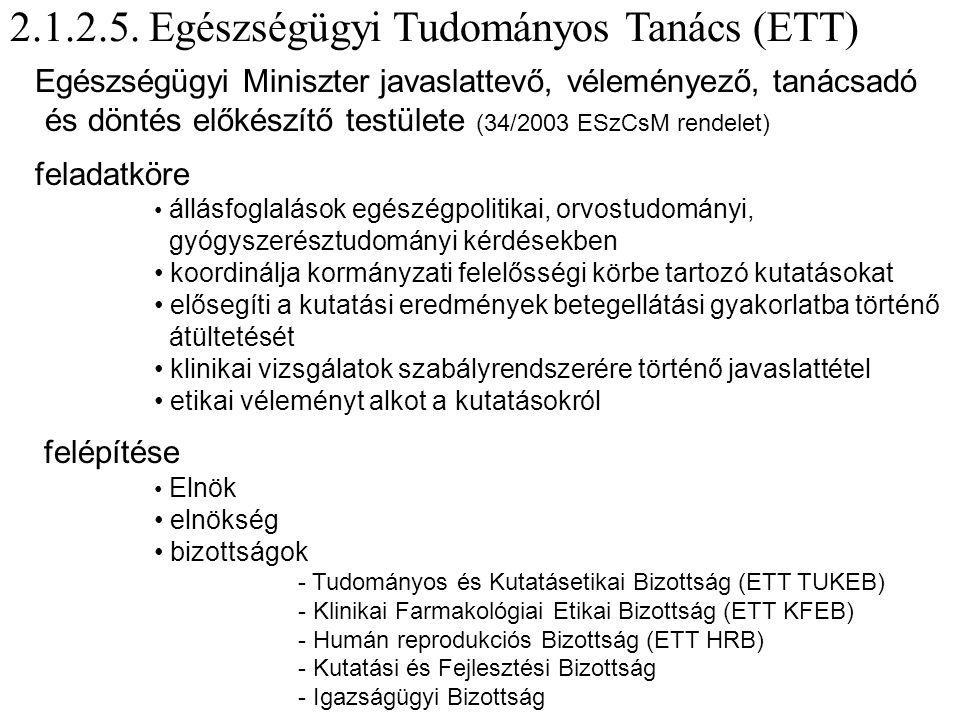2.1.2.5. Egészségügyi Tudományos Tanács (ETT)  Egészségügyi Miniszter javaslattevő, véleményező, tanácsadó és döntés előkészítő testülete (34/2003 ES