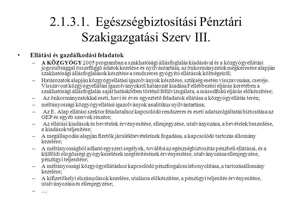 2.1.3.1. Egészségbiztosítási Pénztári Szakigazgatási Szerv III. Ellátási és gazdálkodási feladatok –A KÖZGYÓGY 2005 programban a szakhatósági állásfog